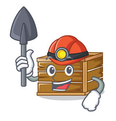 Miner crate mascot cartoon style vector