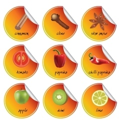 orange stickers vector image