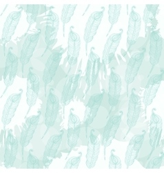 Pattern with abstract blue feathers vector