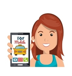 Pretty woman cartoon hold mobile app taxi service vector