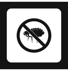 Prohibition sign fleas icon simple style vector