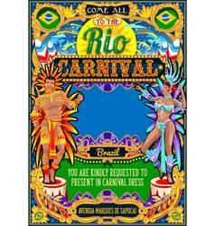 Rio Carnival Poster Frame Brazil Carnaval Mask vector image vector image
