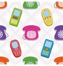 Seamless background cartoon telephones vector