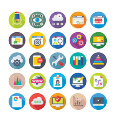 seo and digital marketing icons 2 vector image