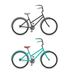 Set bicycle on white background cycling concept vector