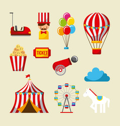 set carnival fun fair park amusement attraction vector image