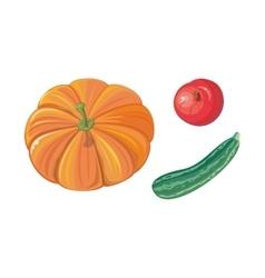 Set of autumn vegetables flat vector