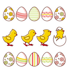 Set of baby chickens and decorated easter eggs vector