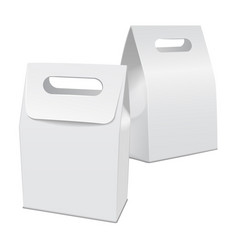 Set of blank white 3d model cardboard take away vector