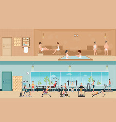 Set of people in fitness gym interior with vector