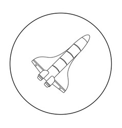 Space shuttle icon in outline style isolated on vector