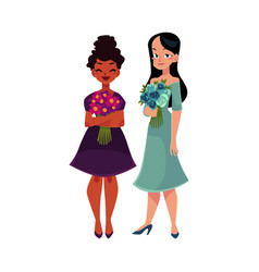 Two women girls black and caucasian holding vector