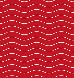 wavy line red seamless pattern vector image