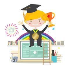 Boy Wearing Graduation Suit Education Concept vector image