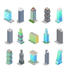 Isometric city skyscraper buildings architecture vector