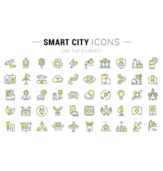 Set flat line icons smart city vector