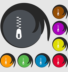 Zipper icon sign symbols on eight colored buttons vector