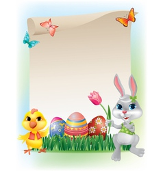 Easter background with bunny and chicken vector