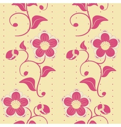 Seamless pink flowers ornate background vector image