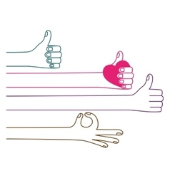 Isolated human hand holding heart design vector