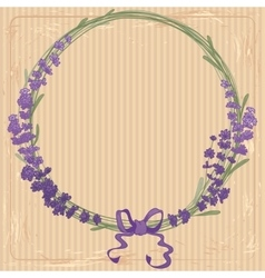 Lavender wreath with a bow vector
