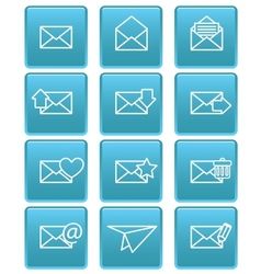 Envelope icons for email on blue squares vector