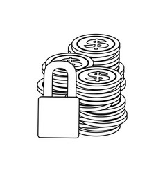 monochrome contour of coins stacked and padlock vector image