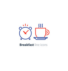 Morning tea cup icon alarm clock breakfast coffee vector