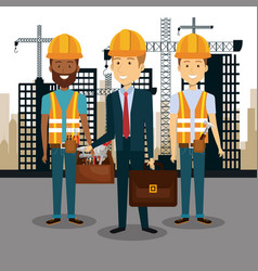 Professional construction people characters with vector