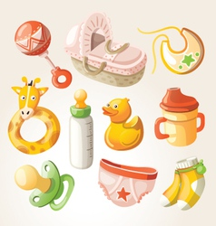 Set of design elements for baby shower vector