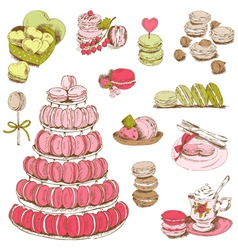 Macaroons and and dessert collection vector