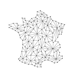 France map of polygonal mosaic lines rays vector