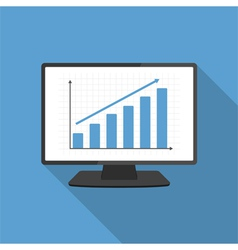 Computer with Bar Graph vector image