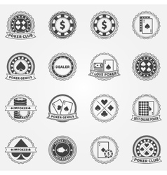 Poker labels and icons set vector