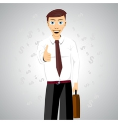 Businessman standing with his thumbs up vector