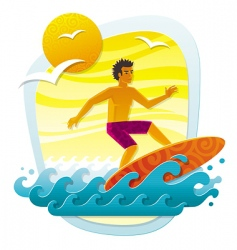Surfing in tropical sea vector