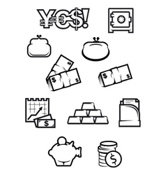 Money and finance icons in outline style vector
