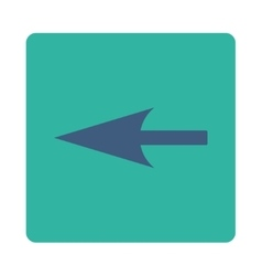 Sharp left arrow flat cobalt and cyan colors vector