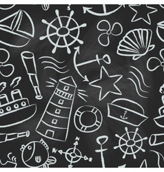 Nautical sketch doodle icons seamless pattern vector