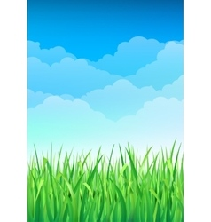 Green grass and blue sky background happy summer vector