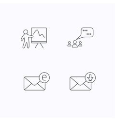 Mail presentation and meeting chat bubbles vector