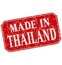 Made in thailand red square grunge stamp vector