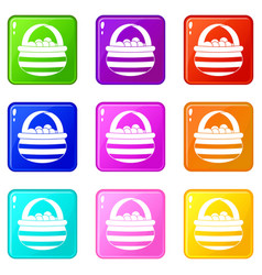 Basket with cranberries icons 9 set vector