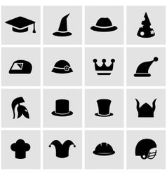 black helmet and hat icon set vector image