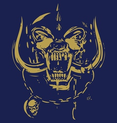 blue and yellow skull vector image vector image