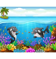 Cartoon whale under the sea vector