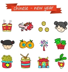 Chinese new year icons vector