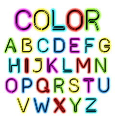 Color glow alphabet vector image