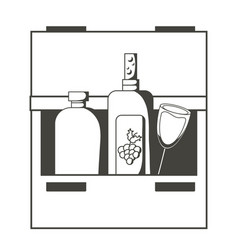 Drink drawers with bottles vector