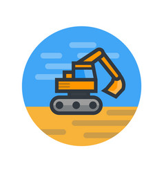 Excavator in flat style vector